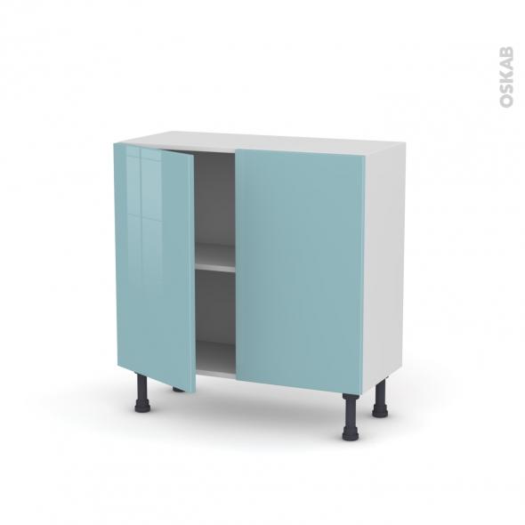 Meuble de cuisine - Bas - KERIA Bleu - 2 portes - L80 x H70 x P37 cm