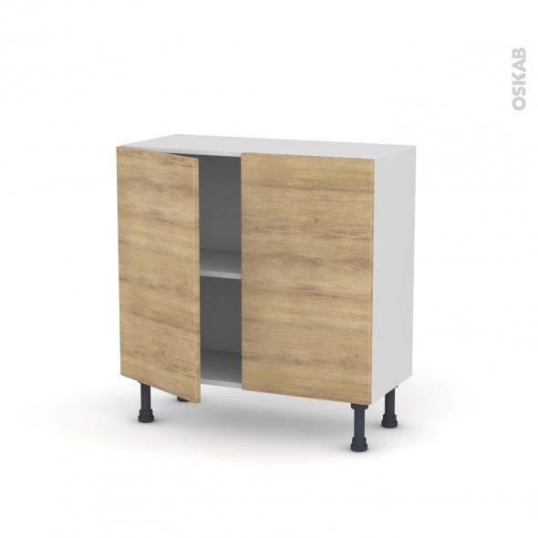 Meuble de cuisine - Bas - HOSTA Chêne naturel - 2 portes - L80 x H70 x P37 cm
