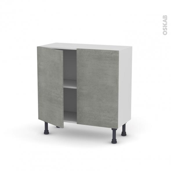 FAKTO Béton - Meuble bas prof.37  - 2 portes - L80xH70xP37