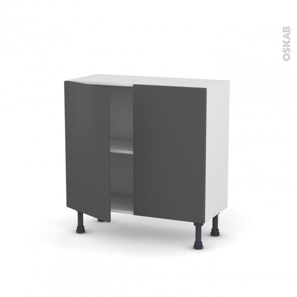 Meuble de cuisine - Bas - GINKO Gris - 2 portes - L80 x H70 x P37 cm