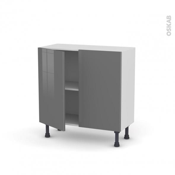 STECIA Gris - Meuble bas prof.37  - 2 portes - L80xH70xP37