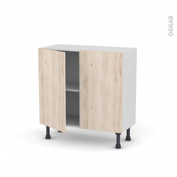Meuble de cuisine - Bas - IKORO Chêne clair - 2 portes - L80 x H70 x P37 cm