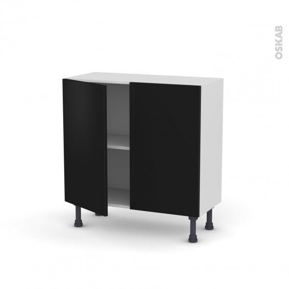 Meuble de cuisine - Bas - GINKO Noir - 2 portes - L80 x H70 x P37 cm