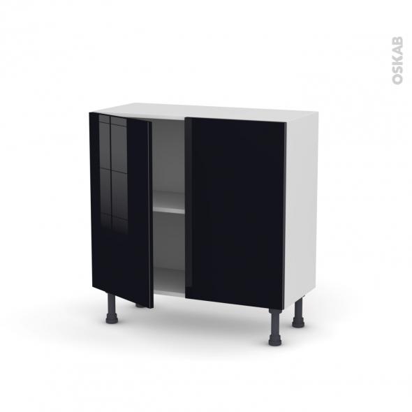 Meuble de cuisine - Bas - KERIA Noir - 2 portes - L80 x H70 x P37 cm