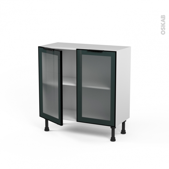 SOKLEO - Meuble bas cuisine prof.37  - Façade noire alu vitrée - 2 portes - L80xH70xP37