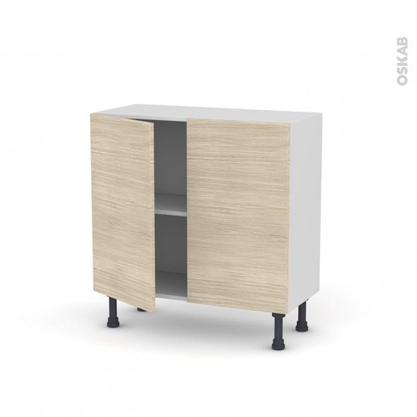 Meuble de cuisine - Bas - STILO Noyer Blanchi - 2 portes - L80 x H70 x P37 cm