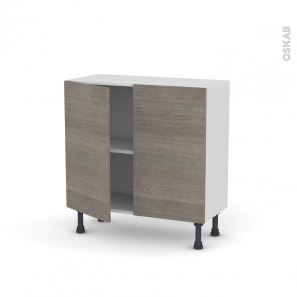 Meuble de cuisine - Bas - STILO Noyer Naturel - 2 portes - L80 x H70 x P37 cm
