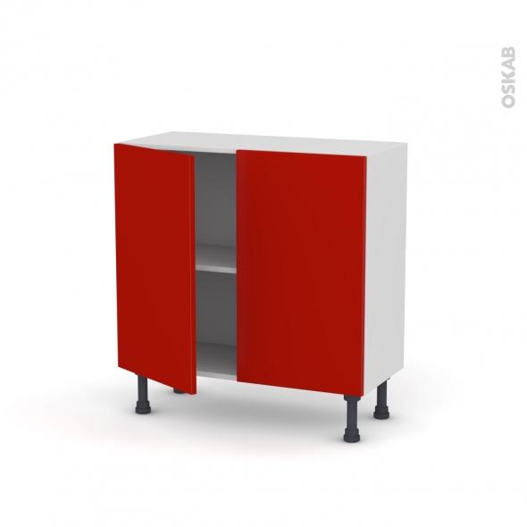 GINKO Rouge - Meuble bas prof.37  - 2 portes - L80xH70xP37