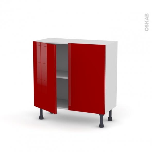 Meuble de cuisine - Bas - STECIA Rouge - 2 portes - L80 x H70 x P37 cm
