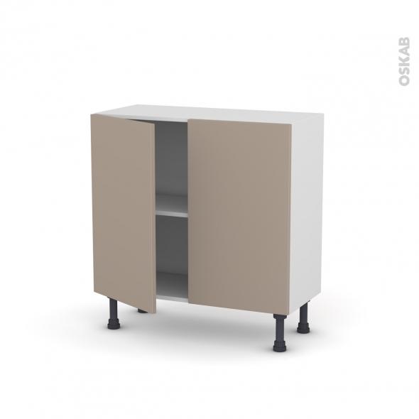 Meuble de cuisine - Bas - GINKO Taupe - 2 portes - L80 x H70 x P37 cm