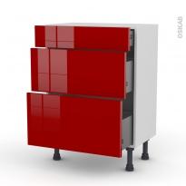 Meuble de cuisine - Bas - STECIA Rouge - 3 tiroirs - L60 x H70 x P37 cm