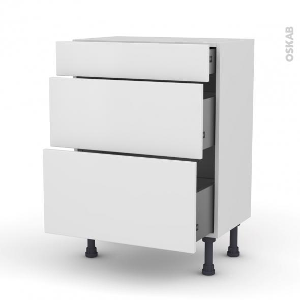 Meuble de cuisine - Bas - GINKO Blanc - 3 tiroirs - L60 x H70 x P37 cm