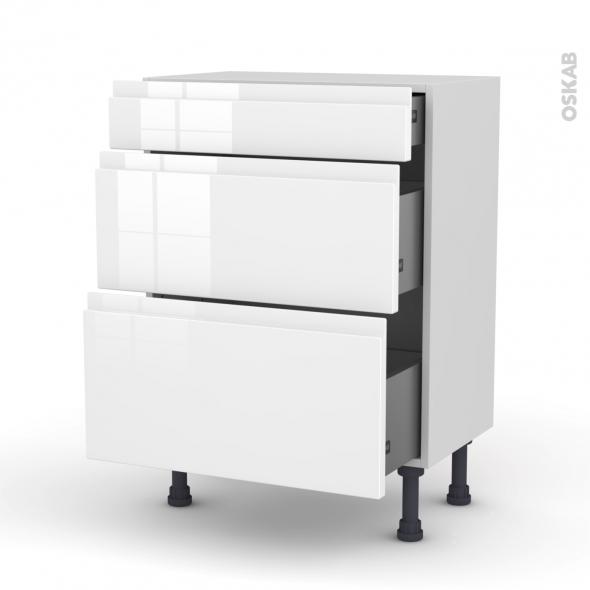 superbe Meuble de cuisine - Bas - IPOMA Blanc brillant - 3 tiroirs - L60 x H70