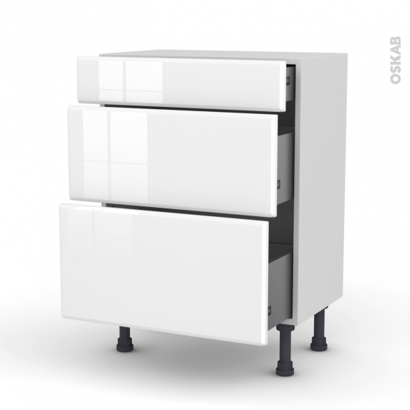 Meuble de cuisine - Bas - IRIS Blanc - 3 tiroirs - L60 x H70 x P37 cm