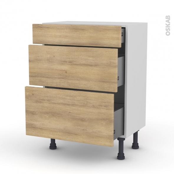 Meuble de cuisine - Bas - HOSTA Chêne naturel - 3 tiroirs - L60 x H70 x P37 cm