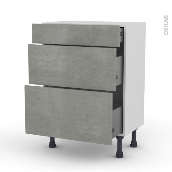 Meuble de cuisine - Bas - FAKTO Béton - 3 tiroirs - L60 x H70 x P37 cm