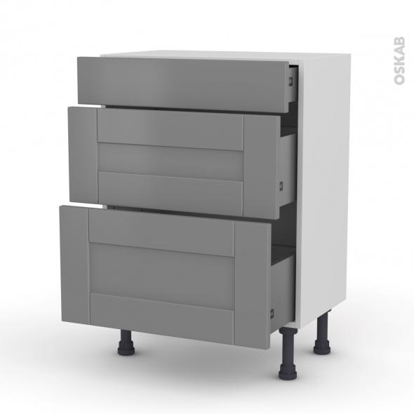Meuble de cuisine - Bas - FILIPEN Gris - 3 tiroirs - L60 x H70 x P37 cm