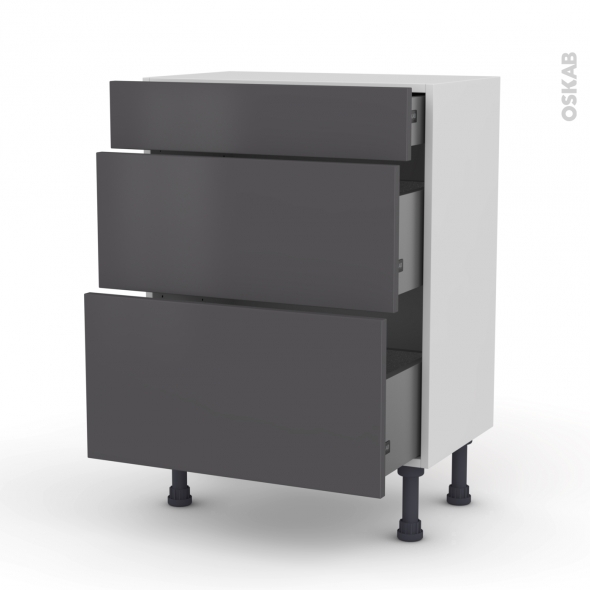 Meuble de cuisine - Bas - GINKO Gris - 3 tiroirs - L60 x H70 x P37 cm