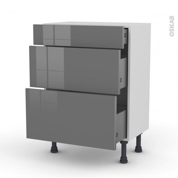 Meuble de cuisine - Bas - STECIA Gris - 3 tiroirs - L60 x H70 x P37 cm