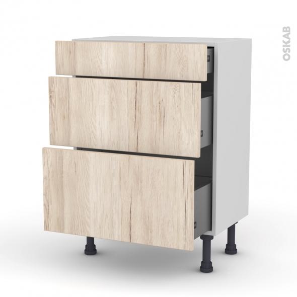 Meuble de cuisine - Bas - IKORO Chêne clair - 3 tiroirs - L60 x H70 x P37 cm