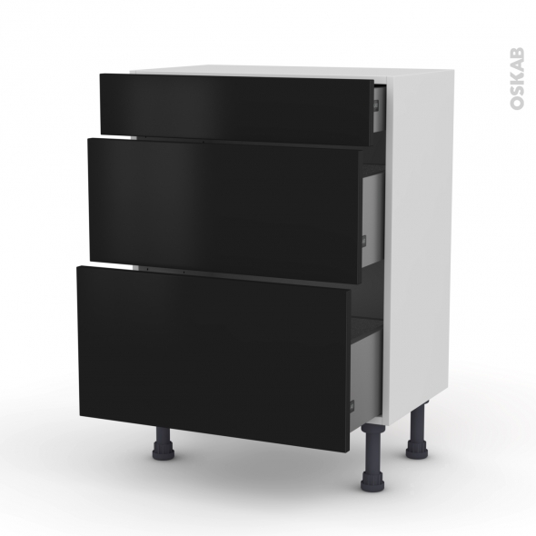 Meuble de cuisine - Bas - GINKO Noir - 3 tiroirs - L60 x H70 x P37 cm