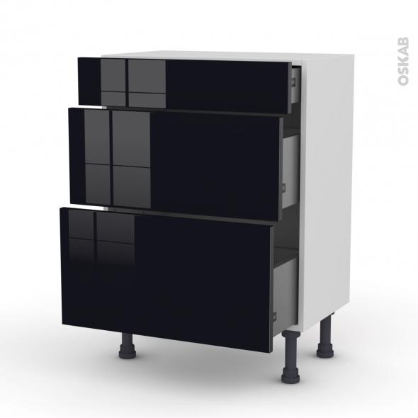 Meuble de cuisine - Bas - KERIA Noir - 3 tiroirs - L60 x H70 x P37 cm
