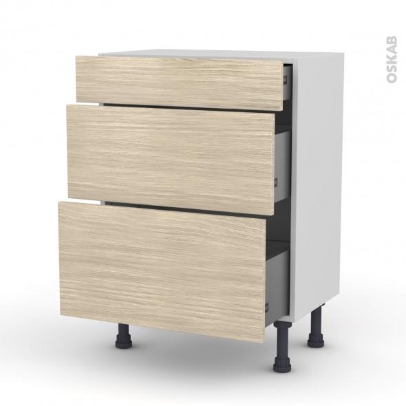 Meuble de cuisine - Bas - STILO Noyer Blanchi - 3 tiroirs - L60 x H70 x P37 cm