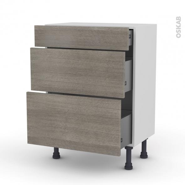 Meuble de cuisine - Bas - STILO Noyer Naturel - 3 tiroirs - L60 x H70 x P37 cm