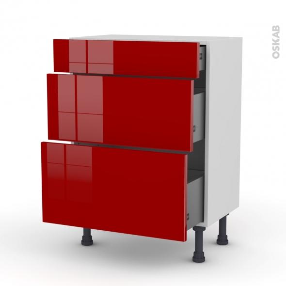 STECIA Rouge - Meuble bas prof.37 - 3 tiroirs - L60xH70xP37