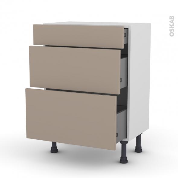 Meuble de cuisine - Bas - GINKO Taupe - 3 tiroirs - L60 x H70 x P37 cm