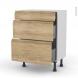 Meuble de cuisine - Bas - IPOMA Chêne naturel - 3 tiroirs - L60 x H70 x P37 cm