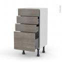 Meuble de cuisine - Bas - STILO Noyer Naturel - 4 tiroirs - L40 x H70 x P37 cm