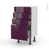Meuble de cuisine - Bas - KERIA Aubergine - 4 tiroirs - L40 x H70 x P37 cm