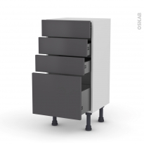 Meuble de cuisine - Bas - GINKO Gris - 4 tiroirs - L40 x H70 x P37 cm