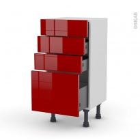 Meuble de cuisine - Bas - STECIA Rouge - 4 tiroirs - L40 x H70 x P37 cm