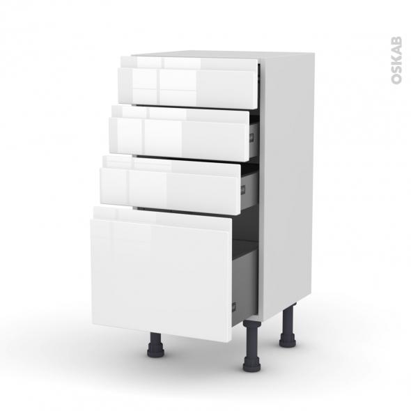Meuble de cuisine - Bas - IPOMA Blanc brillant - 4 tiroirs - L40 x H70 x P37 cm