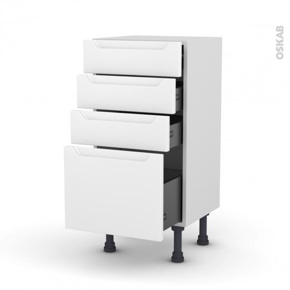 Meuble de cuisine - Bas - PIMA Blanc - 4 tiroirs - L40 x H70 x P37 cm