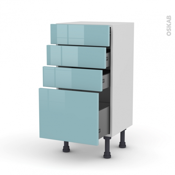 Meuble de cuisine - Bas - KERIA Bleu - 4 tiroirs - L40 x H70 x P37 cm
