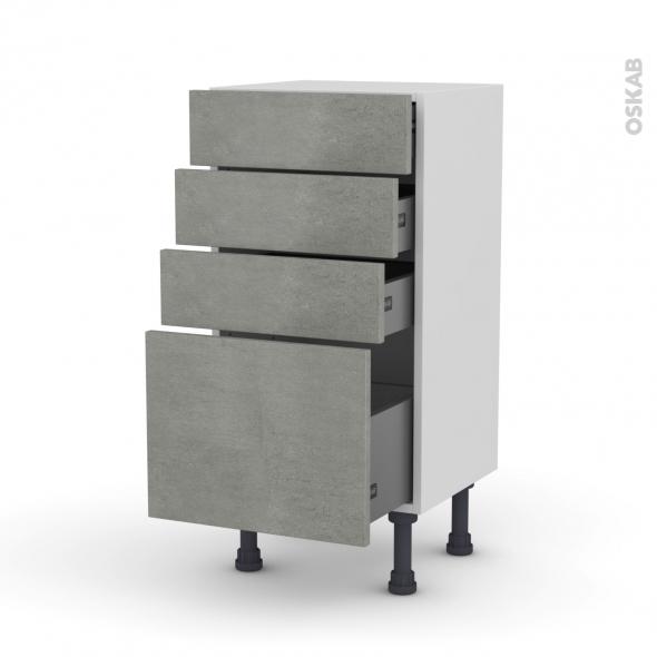 Meuble de cuisine - Bas - FAKTO Béton - 4 tiroirs - L40 x H70 x P37 cm