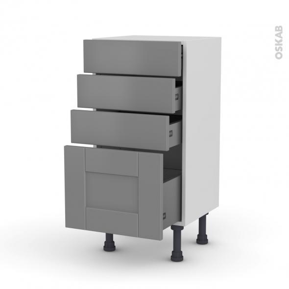 Meuble de cuisine - Bas - FILIPEN Gris - 4 tiroirs - L40 x H70 x P37 cm