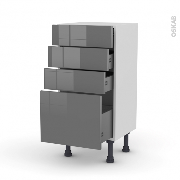 STECIA Gris - Meuble bas prof.37 - 4 tiroirs - L40xH70xP37