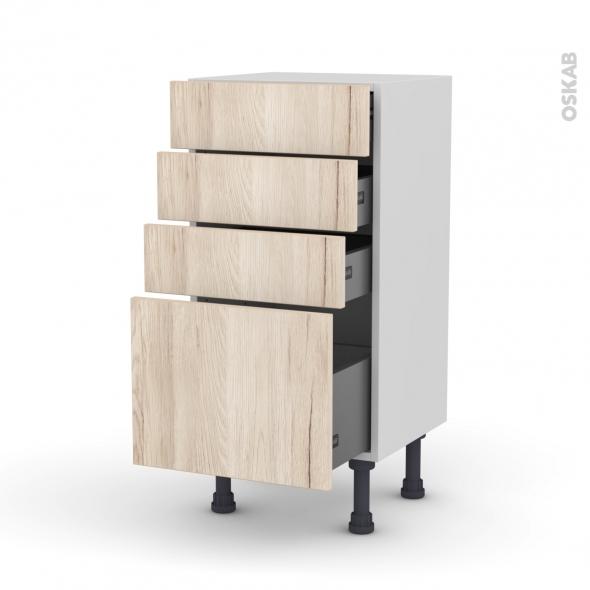 Meuble de cuisine - Bas - IKORO Chêne clair - 4 tiroirs - L40 x H70 x P37 cm