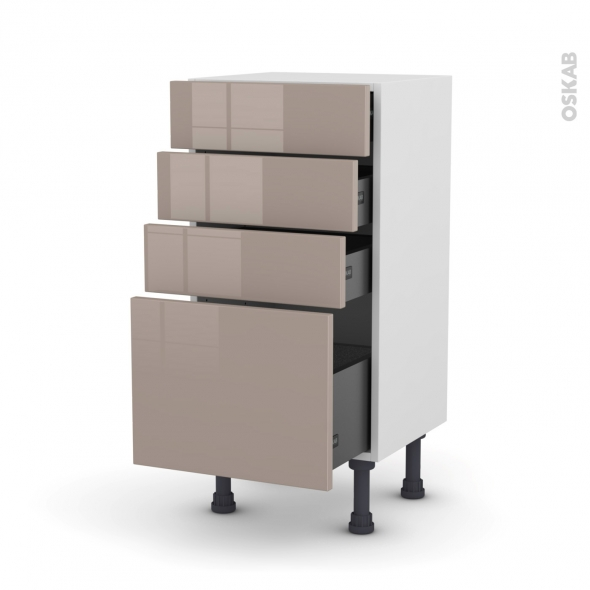 Meuble de cuisine - Bas - KERIA Moka - 4 tiroirs - L40 x H70 x P37 cm