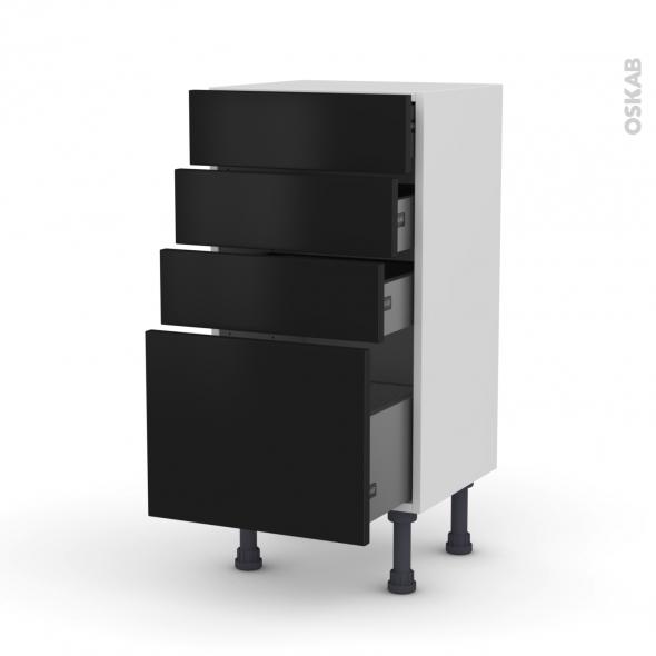 Meuble de cuisine - Bas - GINKO Noir - 4 tiroirs - L40 x H70 x P37 cm