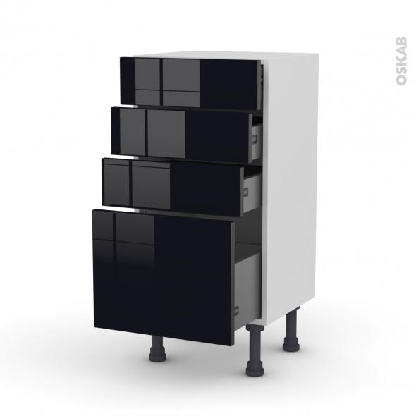 Meuble de cuisine - Bas - KERIA Noir - 4 tiroirs - L40 x H70 x P37 cm