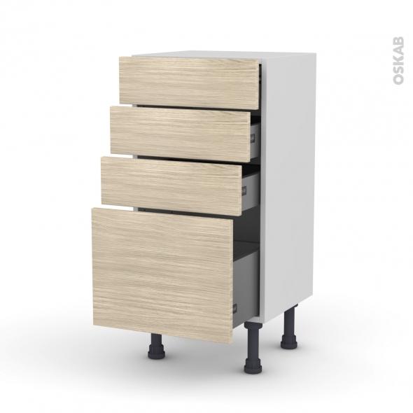 Meuble de cuisine - Bas - STILO Noyer Blanchi - 4 tiroirs - L40 x H70 x P37 cm