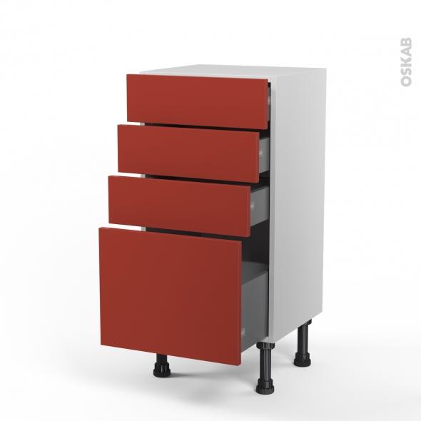 HELIO Rouge - Meuble bas prof.37 - 4 tiroirs - L40xH70xP37
