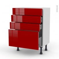 Meuble de cuisine - Bas - STECIA Rouge - 4 tiroirs - L60 x H70 x P37 cm