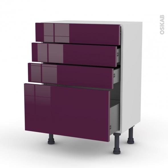 Meuble de cuisine - Bas - KERIA Aubergine - 4 tiroirs - L60 x H70 x P37 cm