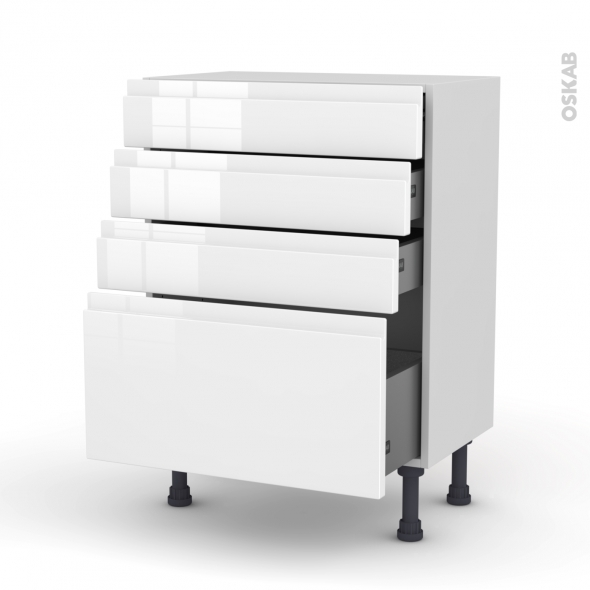 Meuble de cuisine - Bas - IPOMA Blanc - 4 tiroirs - L60 x H70 x P37 cm
